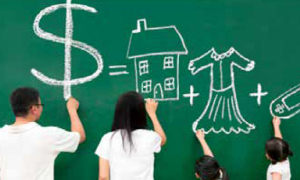 Crianças estudando finanças