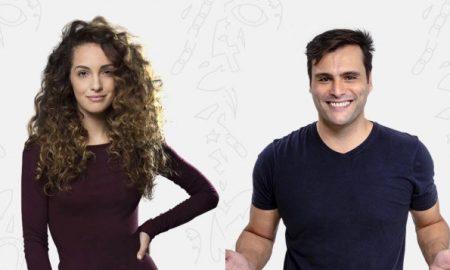 Imagem de Bruna Pazinato (Clara) e Leandro Luna (Caio)
