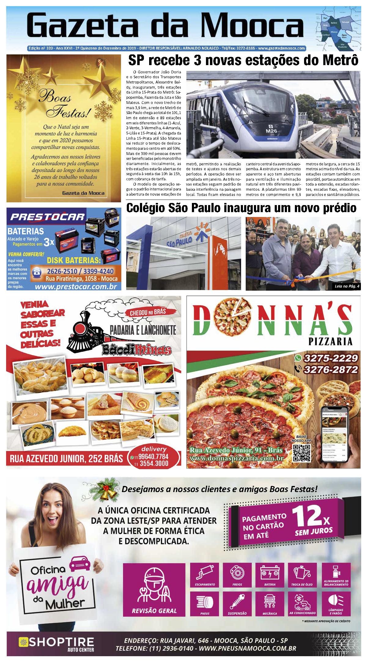Gazeta da Mooca - Edição nº 320 - Ano XXVI - 2ª Quinzena de Dezembro de 2019